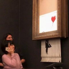 Banksy Painting Self-Destructs Immediately After Being Sold